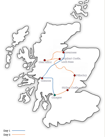 MAP GW Loch Ness and Inverness Highland 2 Day Tour